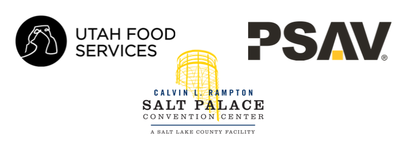 logos for PSAV, Utah Foods Services, and The Salt Palace