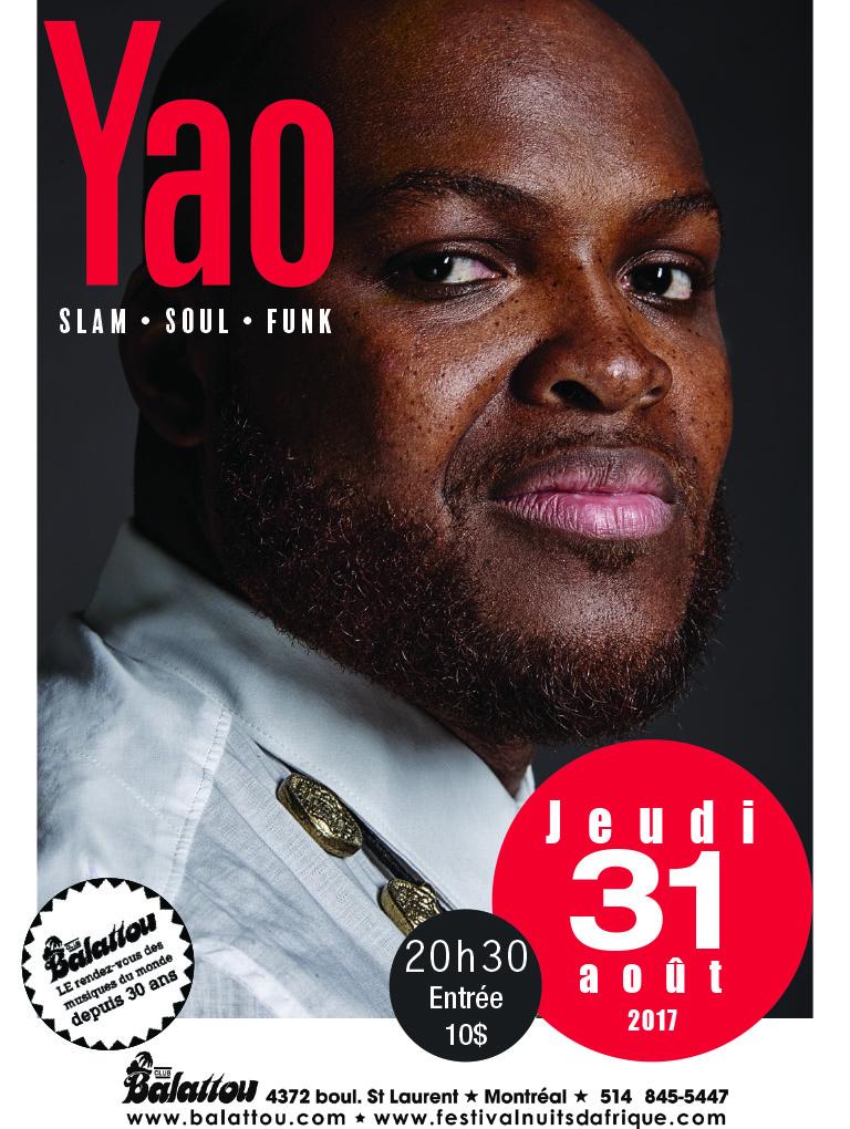 Yao en Concert à Montréal, au Balattou - 31 août