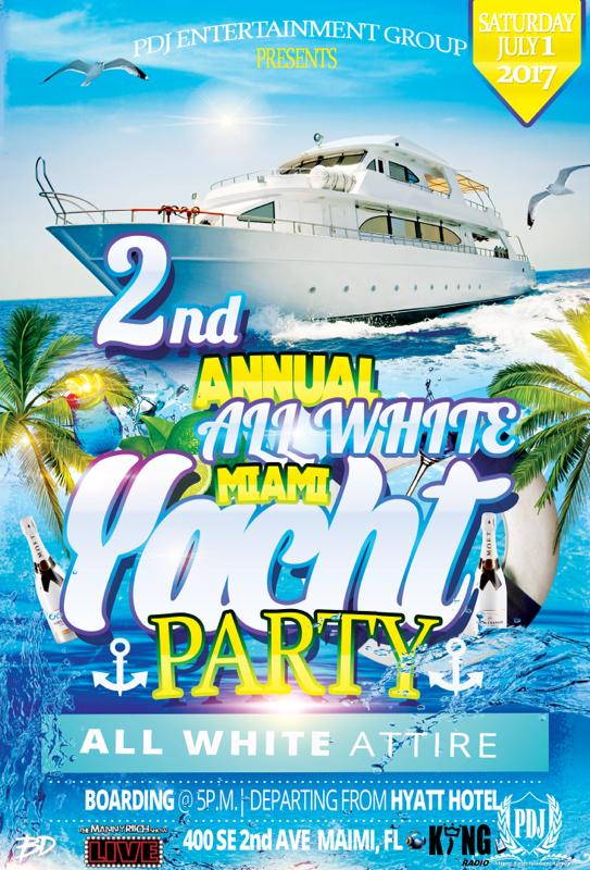 PDJ Miami All white yacht Party july 1 2017 miami