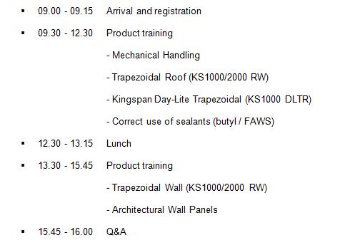 Installer Training Agenda