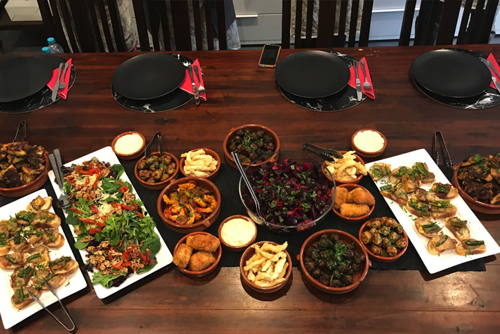 Spanish dishes on table