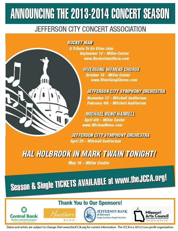2013-2014 Jefferson City Concert Association season poster