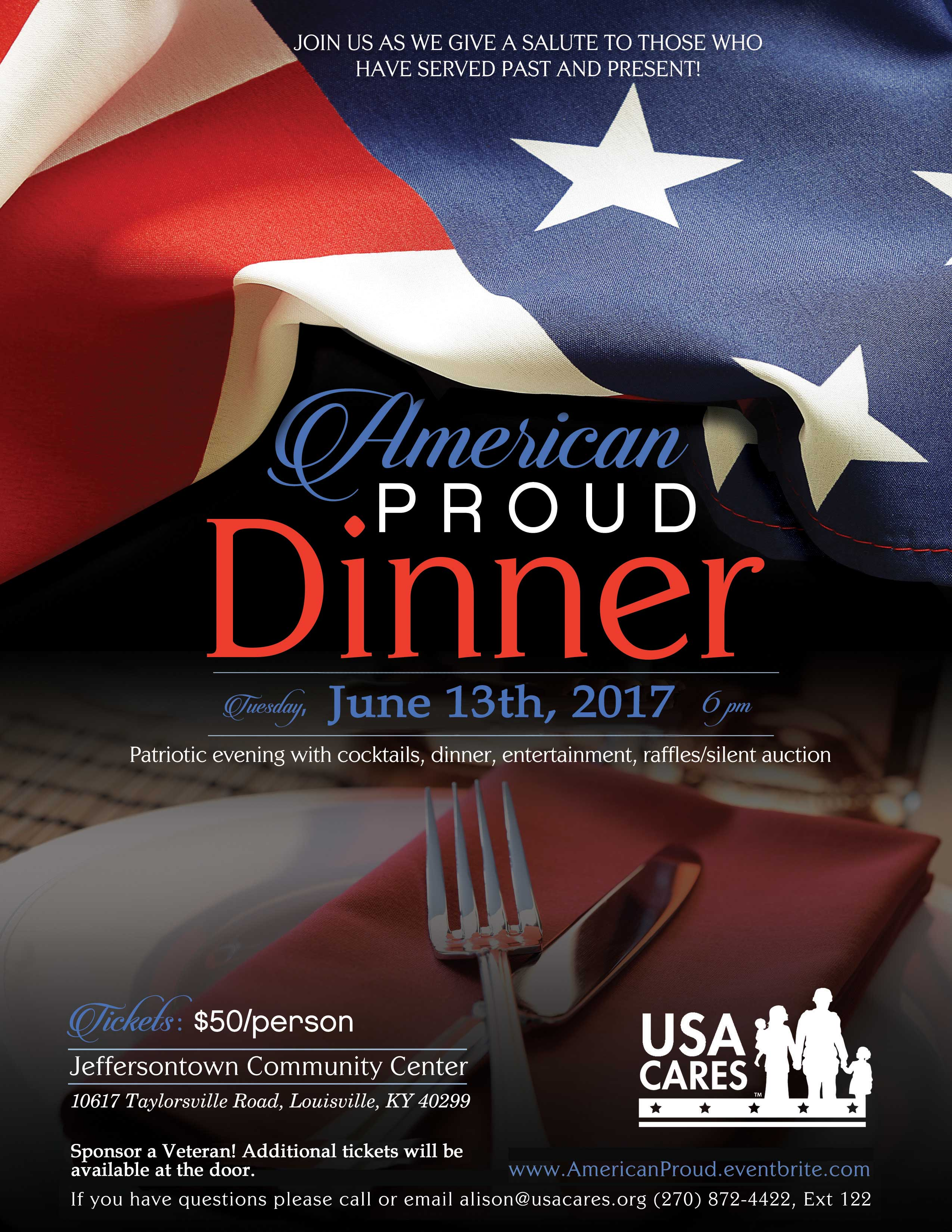 american proud event poster - june 13, 2017. for details, contact alison@usacares.org