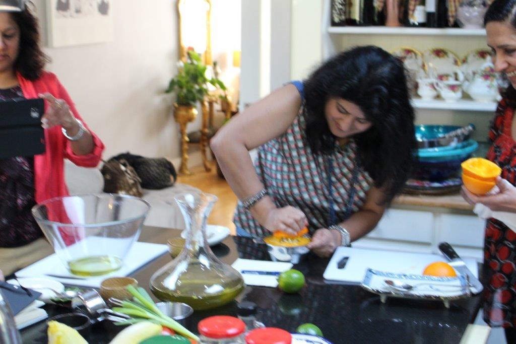 Workshop attendees preparing food