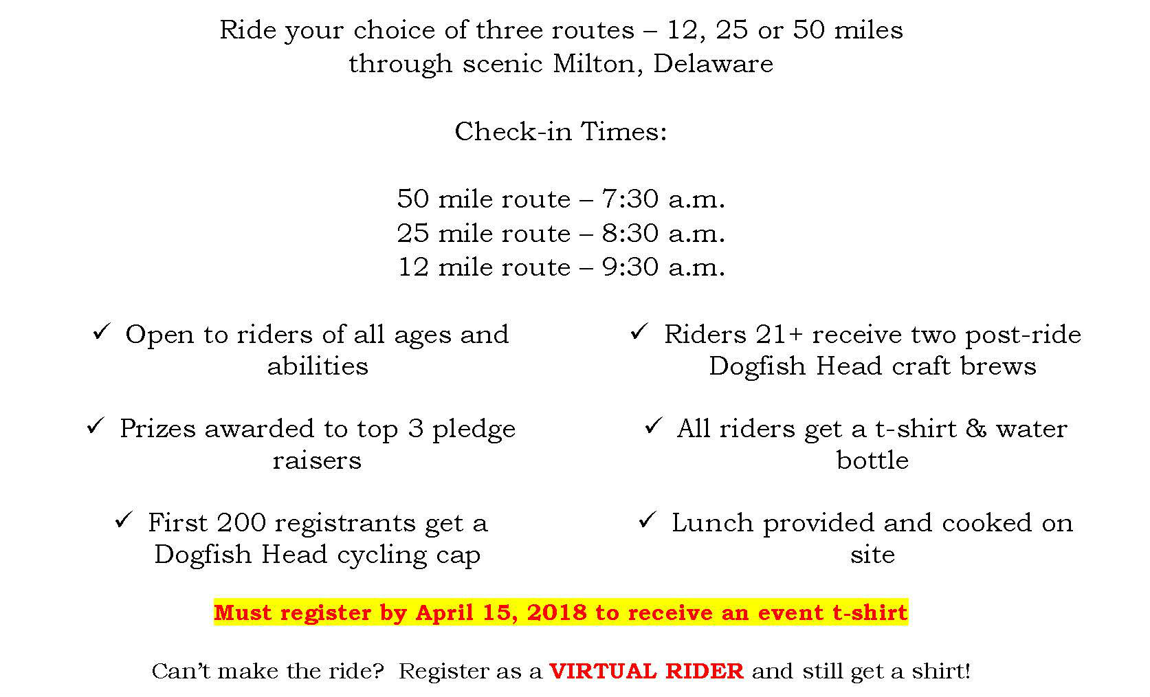 Ride distances and check in times