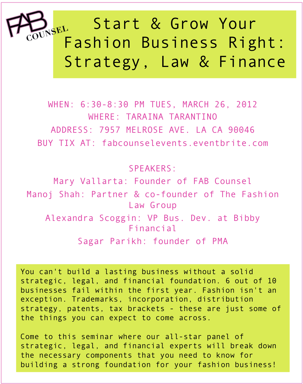 Start & Grow Your Fashion Business Right: Strategy, Law & Finance