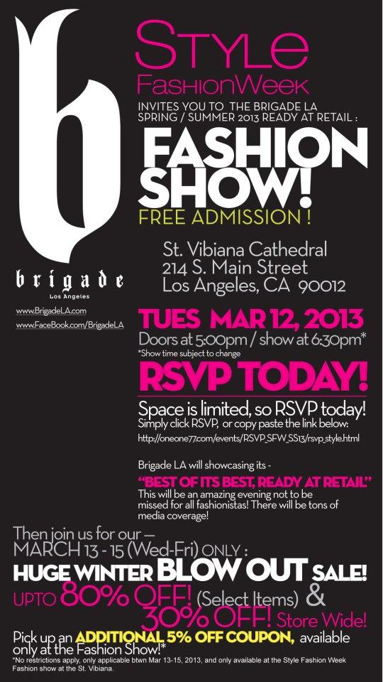 Brigade Fashion Show Invite