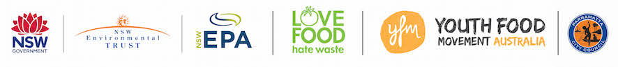 SpoonLed project partner logos: NSW EPA, Love Food Hate Waste, Youth Food Movement Australia, Parramatta City Council