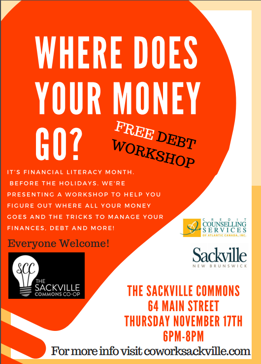 Event Poster Debt management Sackville New Brunswick Credit The Sackville Commons