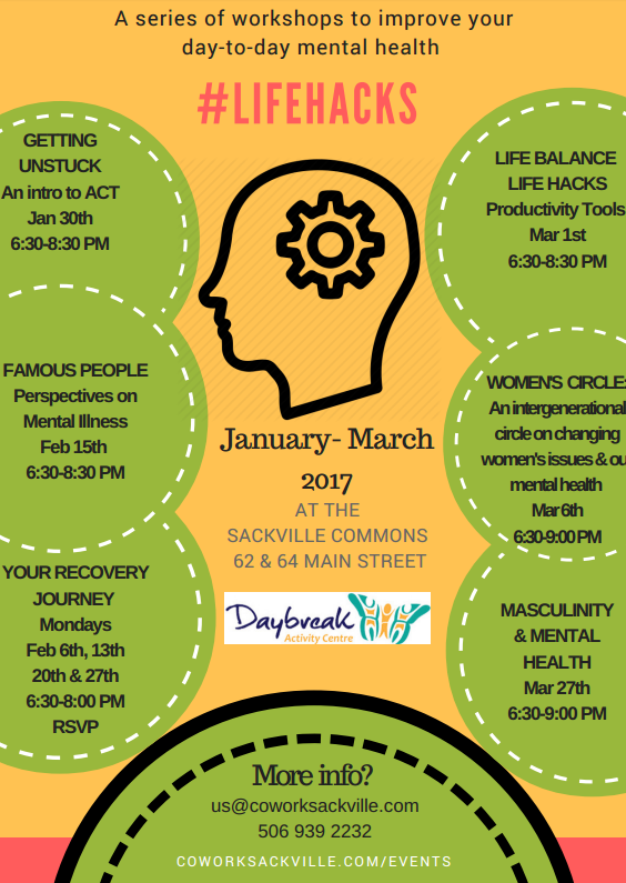 LifeHacks Life Hacks Daybreak wellness mental health workshop series Sackville New Brunswick