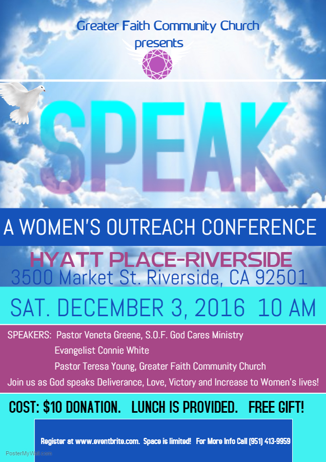 2016 SPEAK: A Women's Outreach Conference Flyer