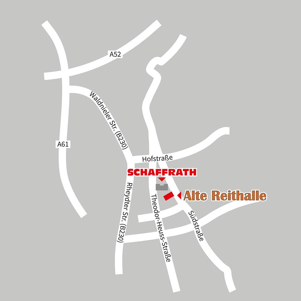 Anfahrtsskizze Alte Reithalle Schaffrath