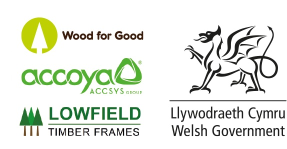 Logos for WoodBUILD sponsors, Welsh Government, Wood for Good, Accoya and Lowfield Timber Frame