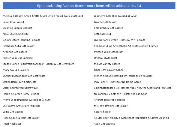 A list of many donated items for the Auction