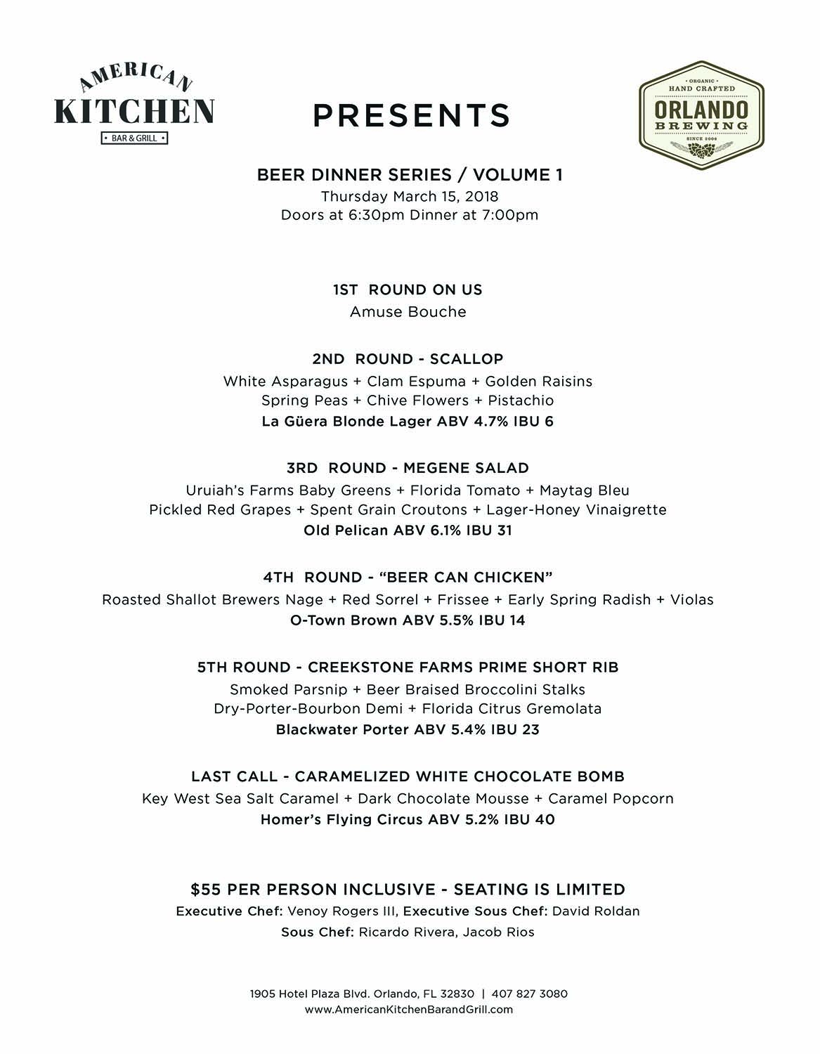 Beer Dinner Series Menu Preview