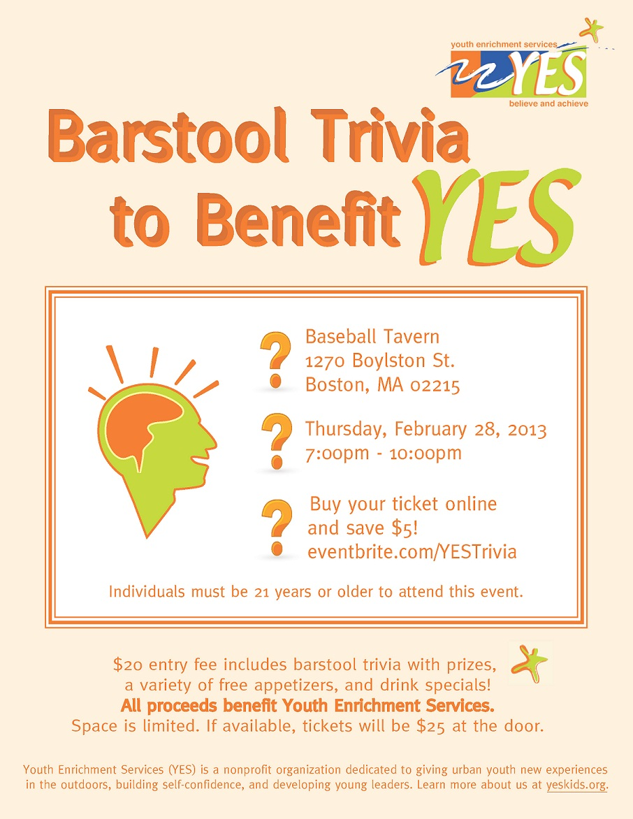 Barstool Trivia to Benefit YES Flyer