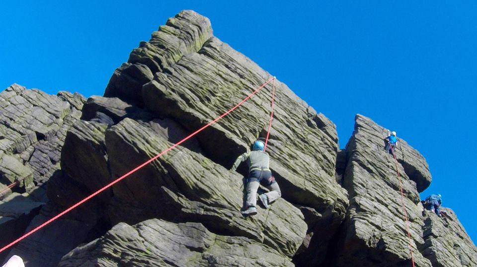 Climbers as crag