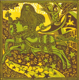 The Green Knight in the Forest - from a linocut by Michael Smith