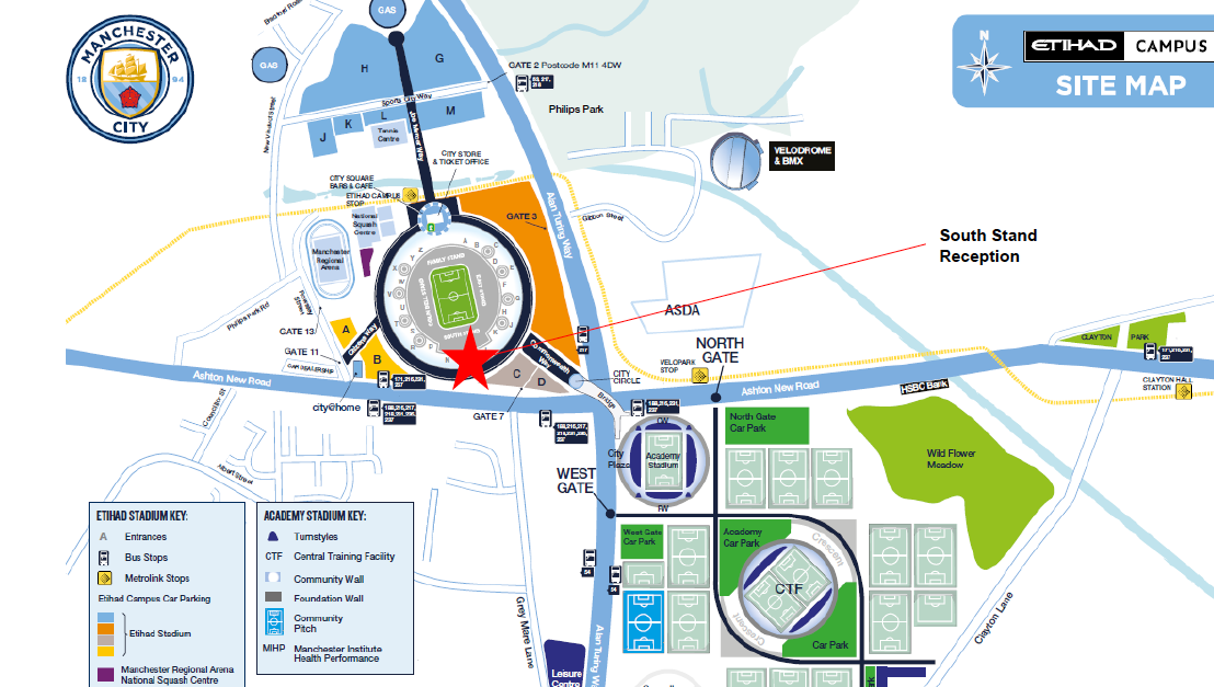 Map of Manchester City Ground