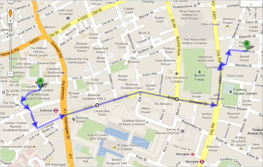 Walking Directions from QM Charterhouse Square to Google Campus
