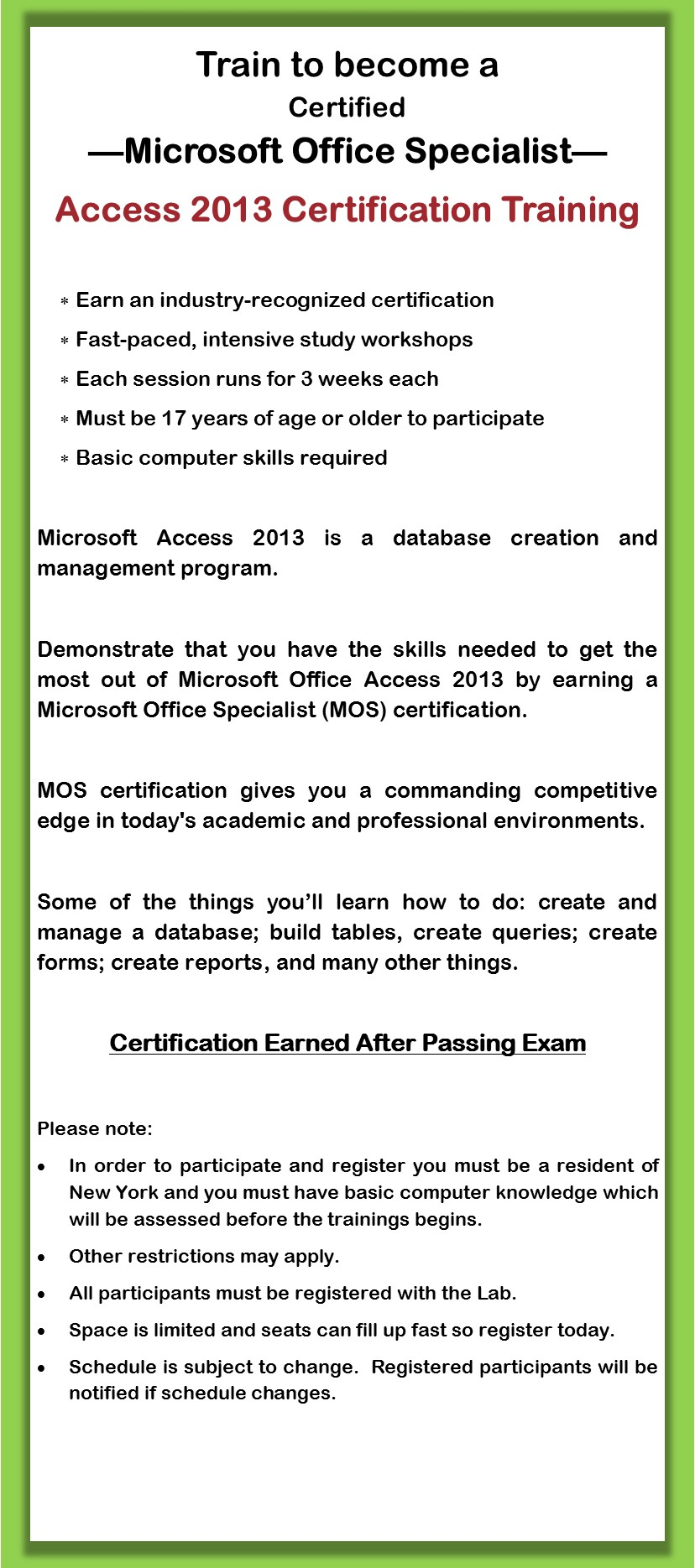 Microsoft Access Training 2013 Summer Institute July 23 August
