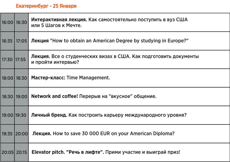 Программа выставки, Екатеринбург