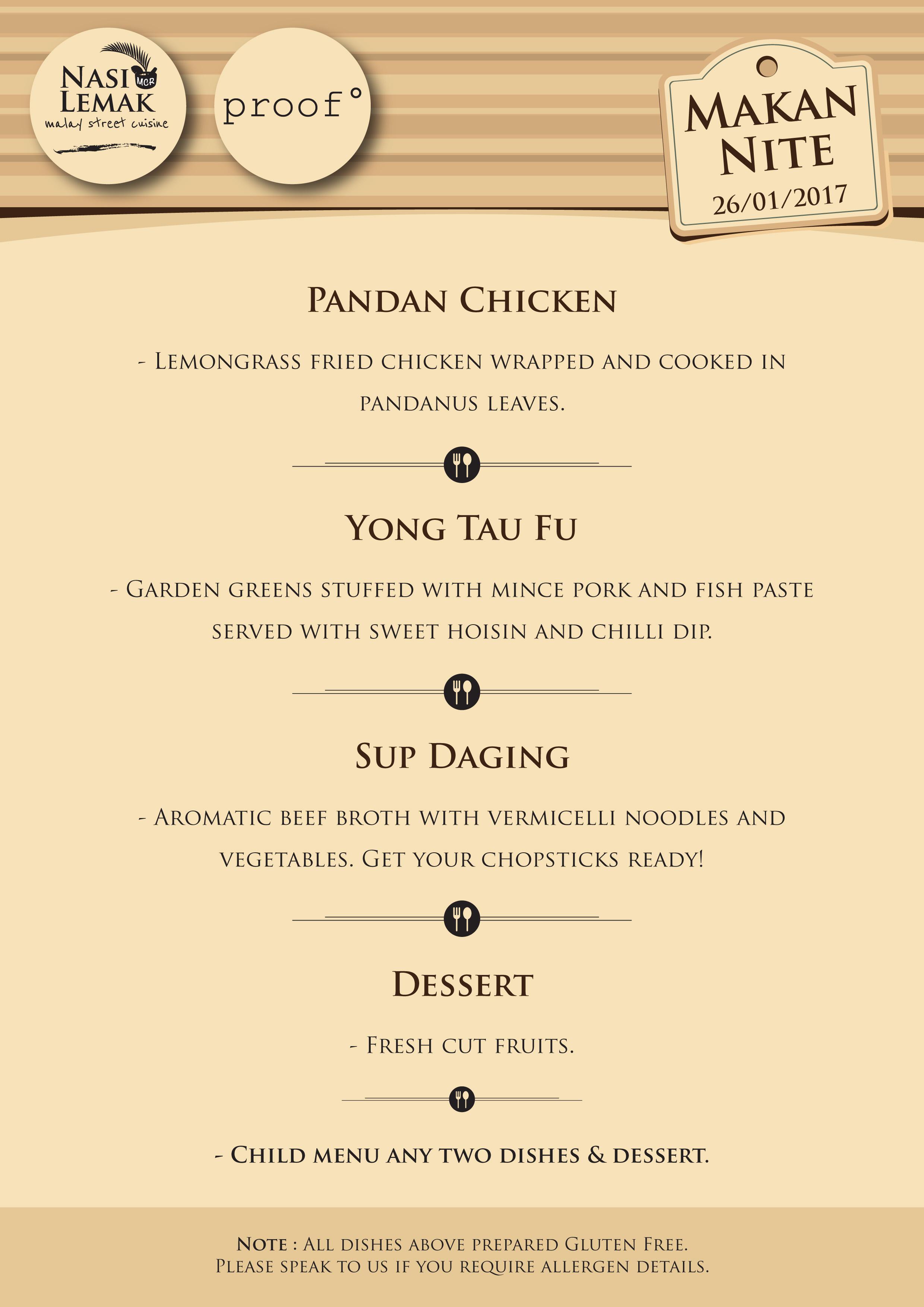 Makan Nite II menu