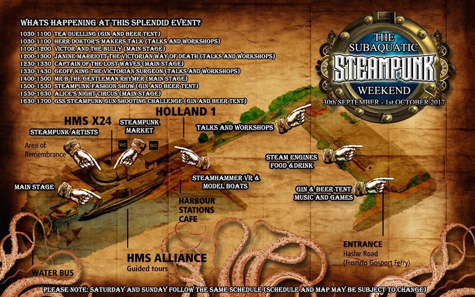 The Subaquatic Steampunk Weekend Site Map