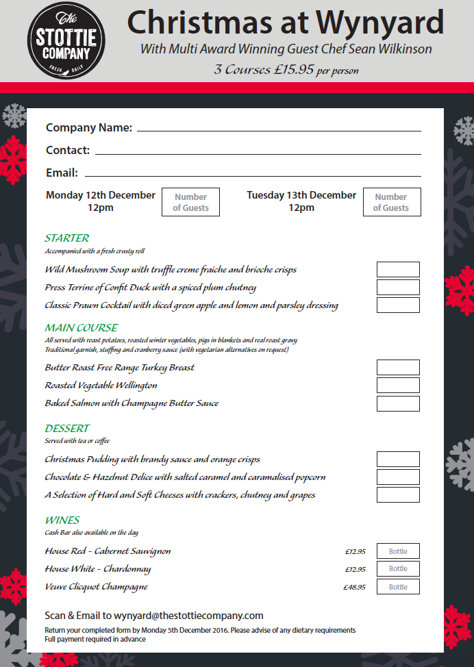 Wynyard Christmas Lunch Booking Form