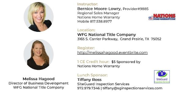 Home Warranty Risk Reduction 1 Hr Ce Lunch Learn Tickets