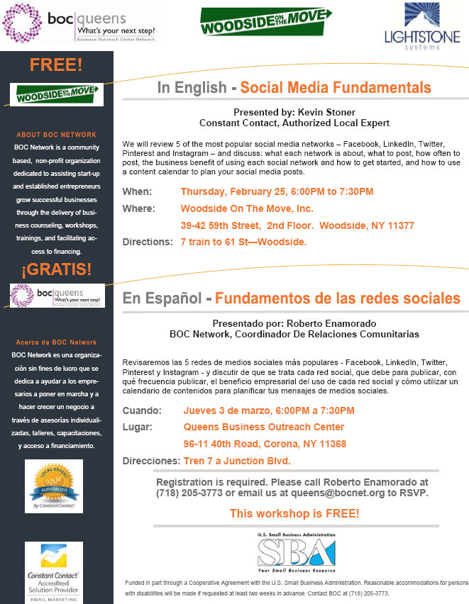 Flyer In English - Social Media Fundamentals We will review 5 of the most popular social media networks – Facebook, LinkedIn, Twitter,  Pinterest and Instagram – and discuss: what each network is about, what to post, how often to post, the business benefit of using each social network and how to get started, and how to use a content calendar to plan your social media posts.