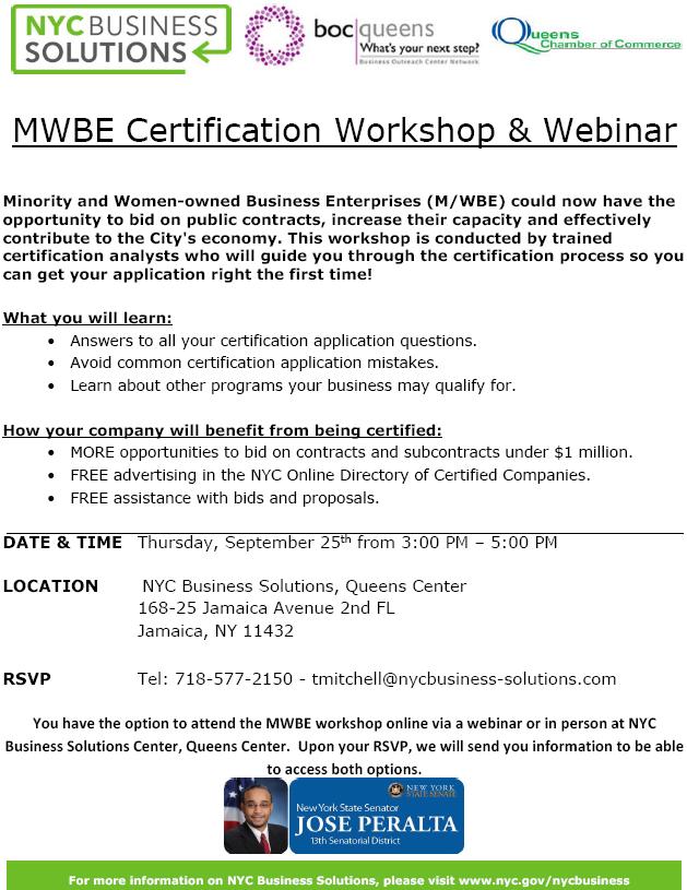Free! - MWBE Certification Workshop and Webinar - Flyer