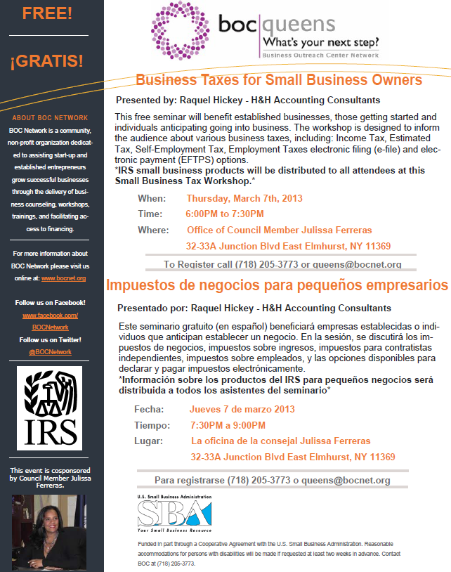 Business Taxes for Small Business Owners - Impuestos de negocios para pequeños empresarios - Flyer