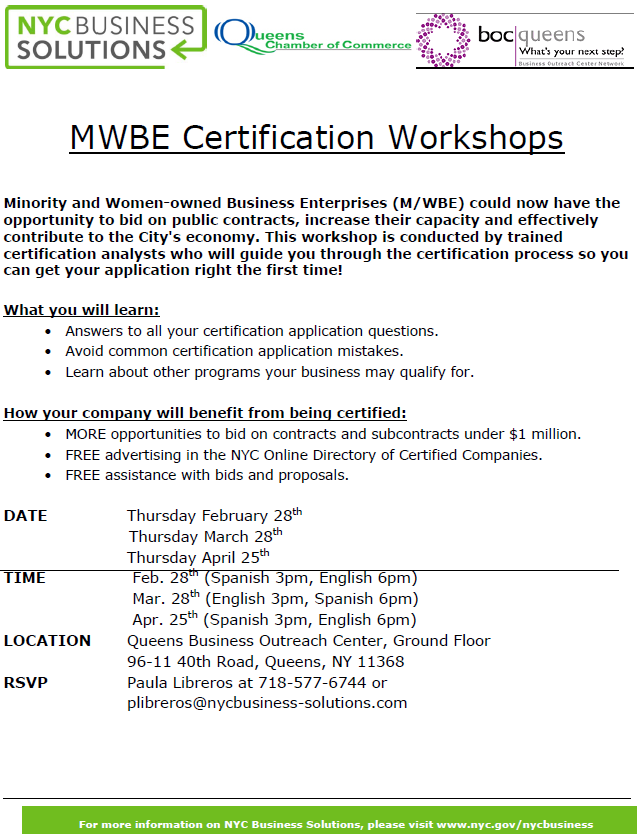 MWBE Certification Flyer - Minority and Women-owned Business Enterprises (M/WBE) could now have the opportunity to bid on public contracts, increase their capacity and effectively contribute to the City's economy.