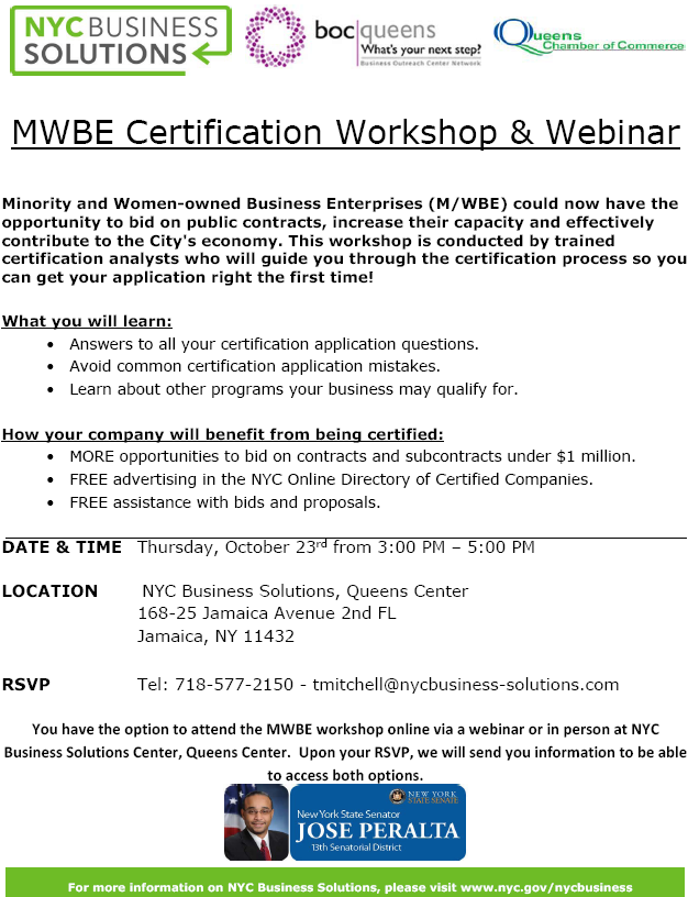 Free! - MWBE Certification Workshop and Webinar - Flyer