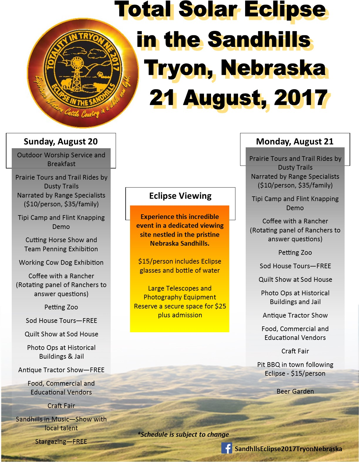 Tryon Nebraska Eclipse Events