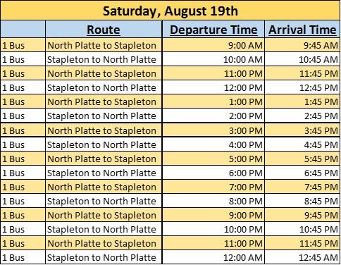 Saturday Bus Schedule
