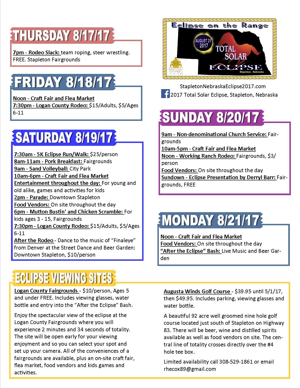 Stapleton Eclipse Schedule of Events