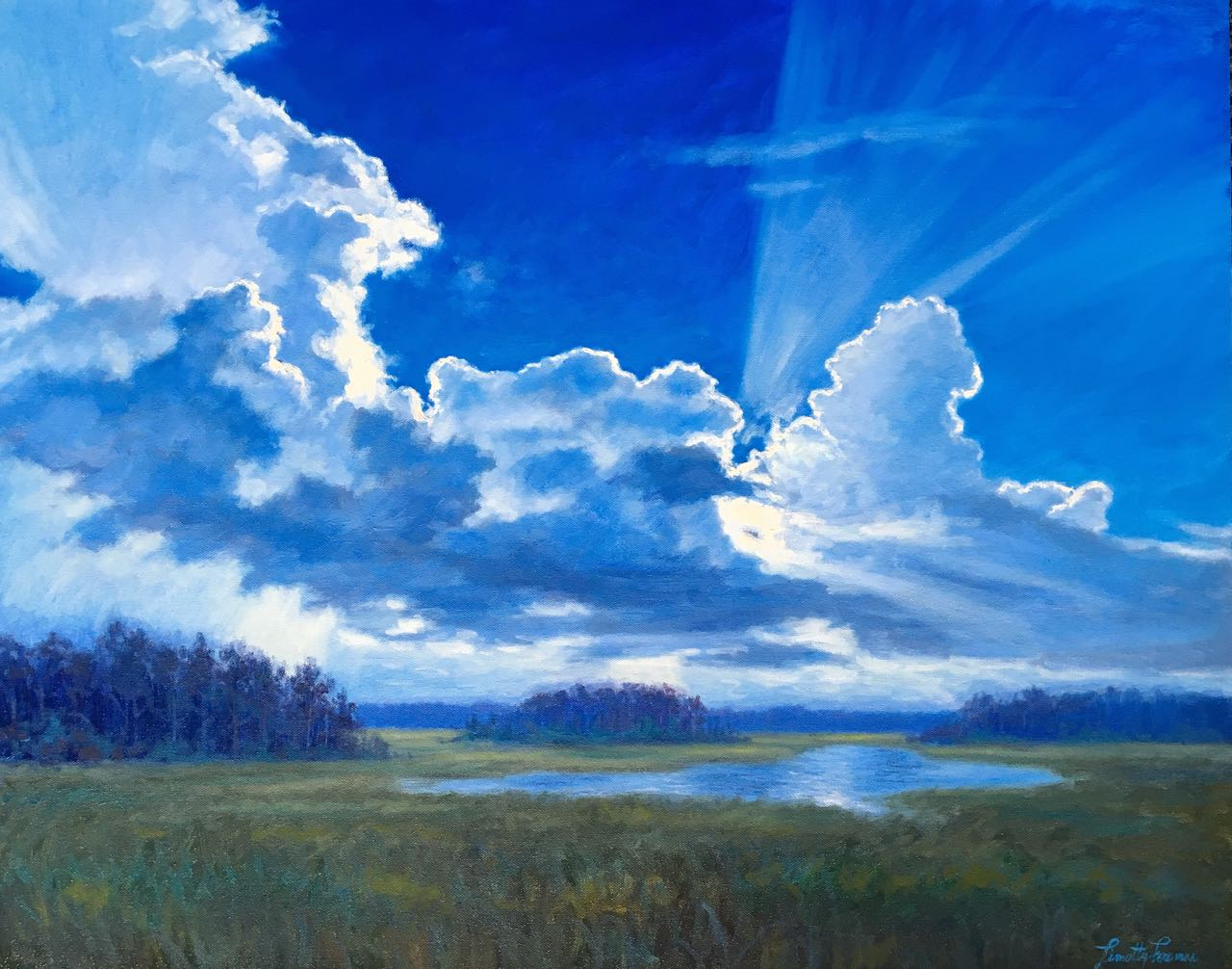 Cerulean Sky and Rays of Sunlight Shining Through