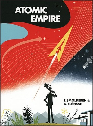 cover of Atomic Empire, featuring a 50s style illustration of a guy contemplating the skies as a rocket flies thu the background
