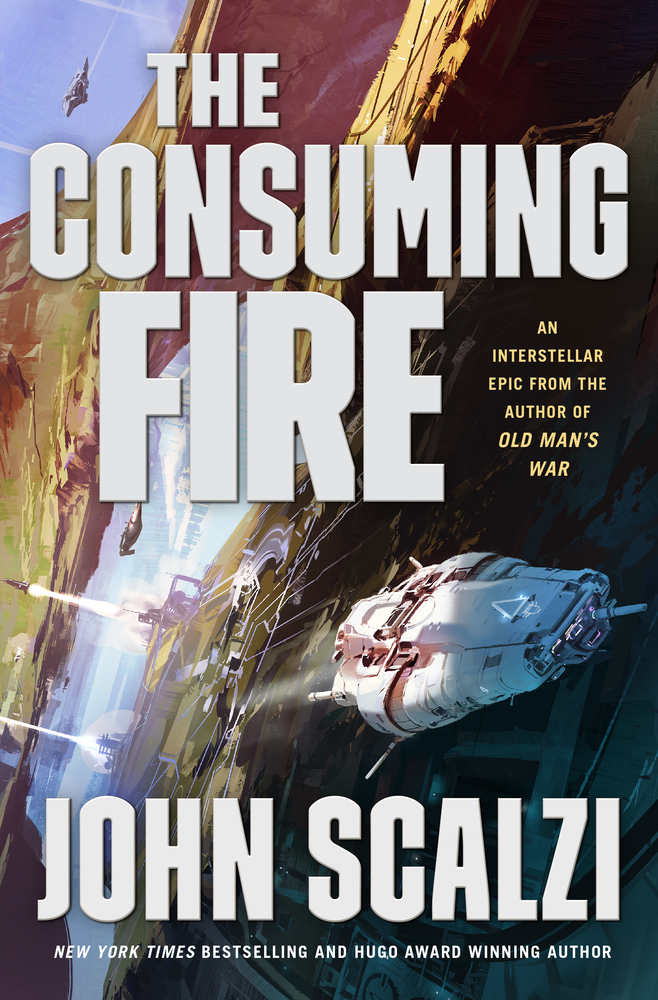 cover of John Scalzi's The Consuming Fire, featuring a cool spaceship zooming along the side of a much bigger spaceship