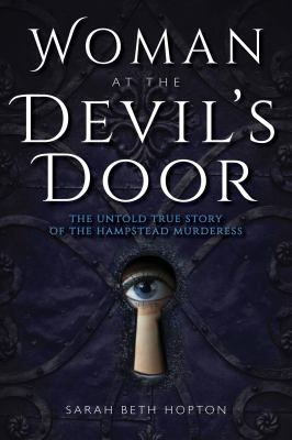 cover of Woman at the Devil's Door, featuring a lady's beautifully blue but creepy eye peeking thru a keyhole