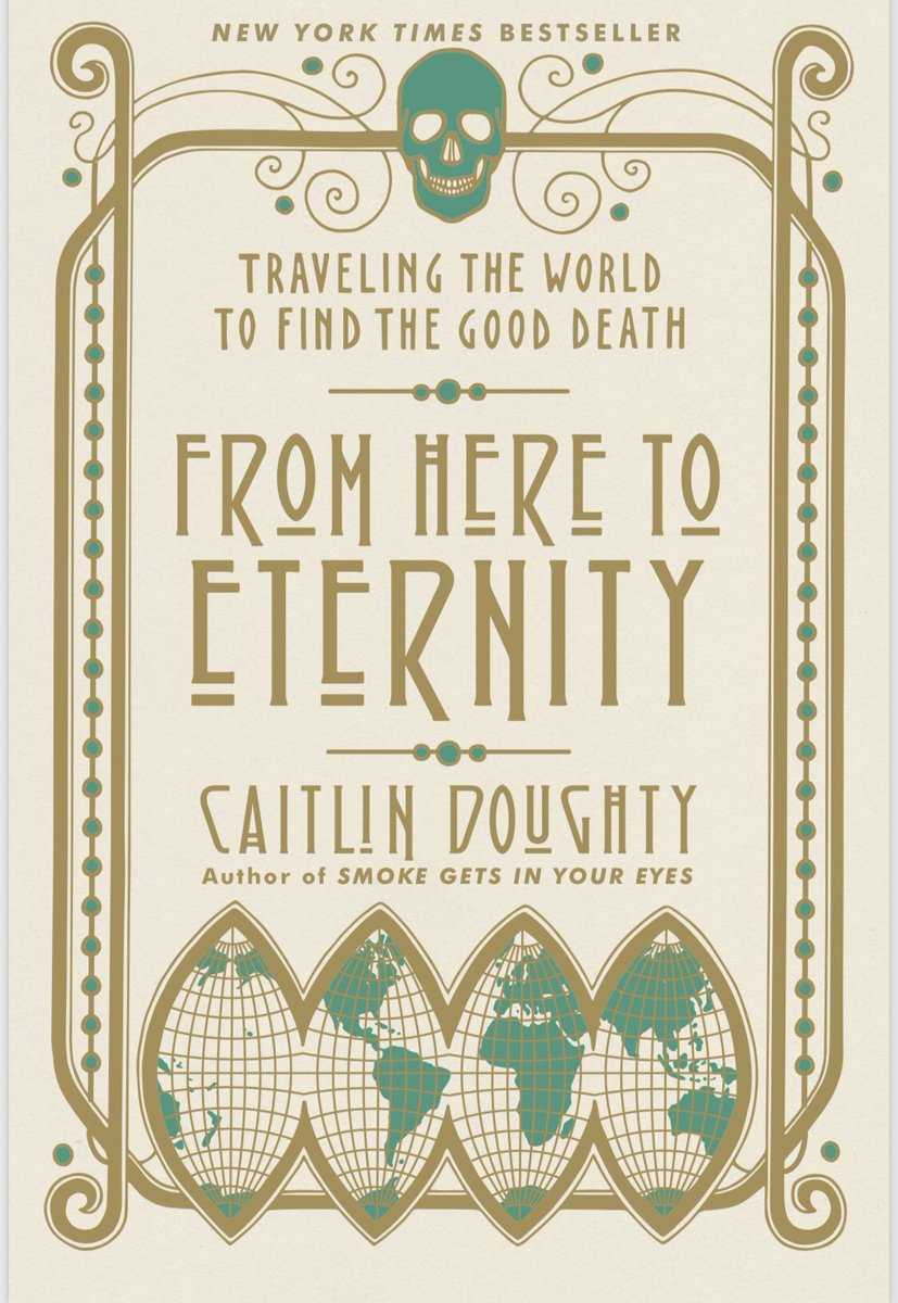 Cover of Caitlin Doughty's From Here to Eternity: Traveling the World to Find the Good Death, featuring a fold out globe map at the bottom and a grinning skull at the top.