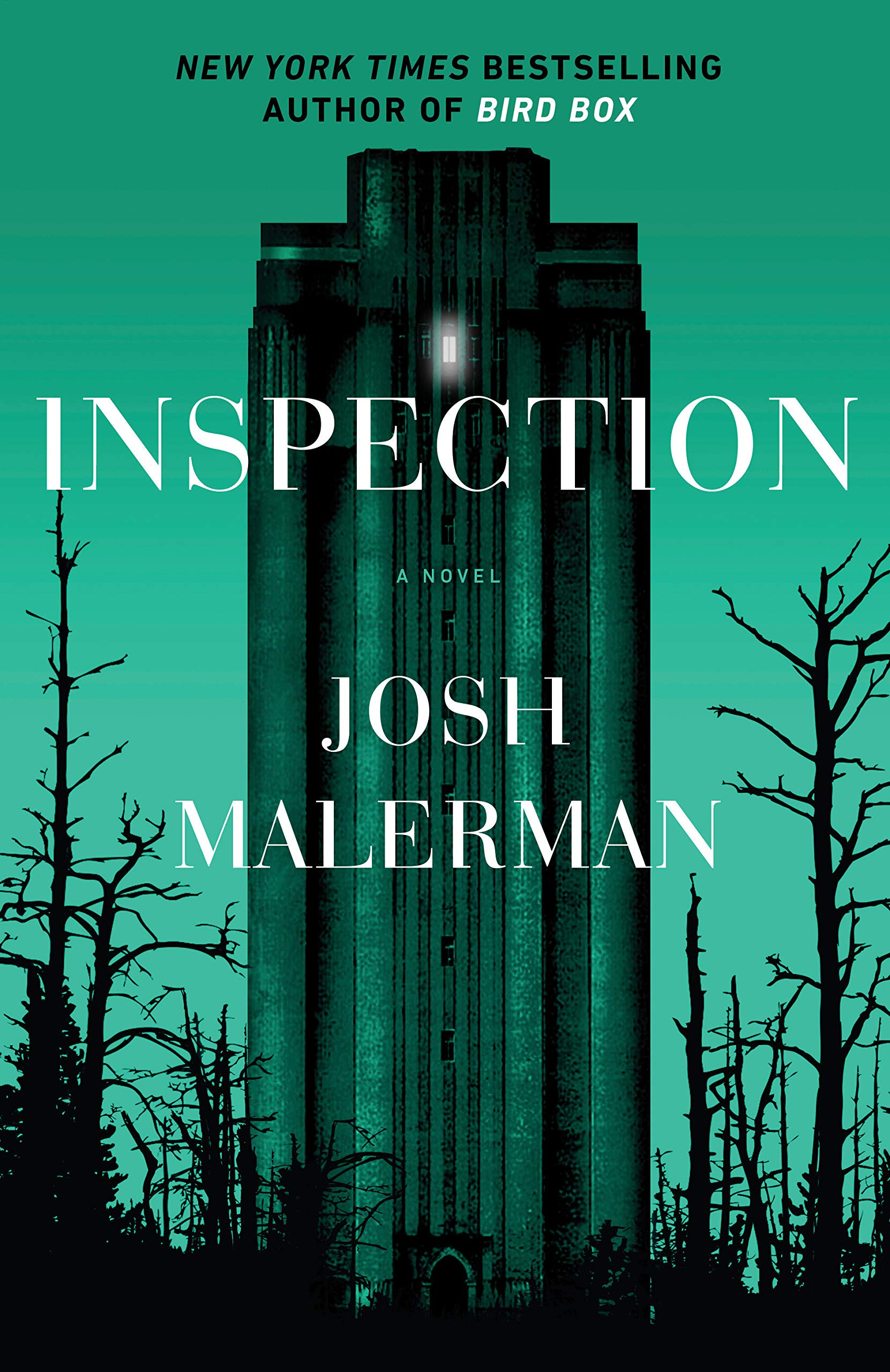 cover of Inspection, featuring a tall, creepy modern tower in a forest, bathed in eerie green light