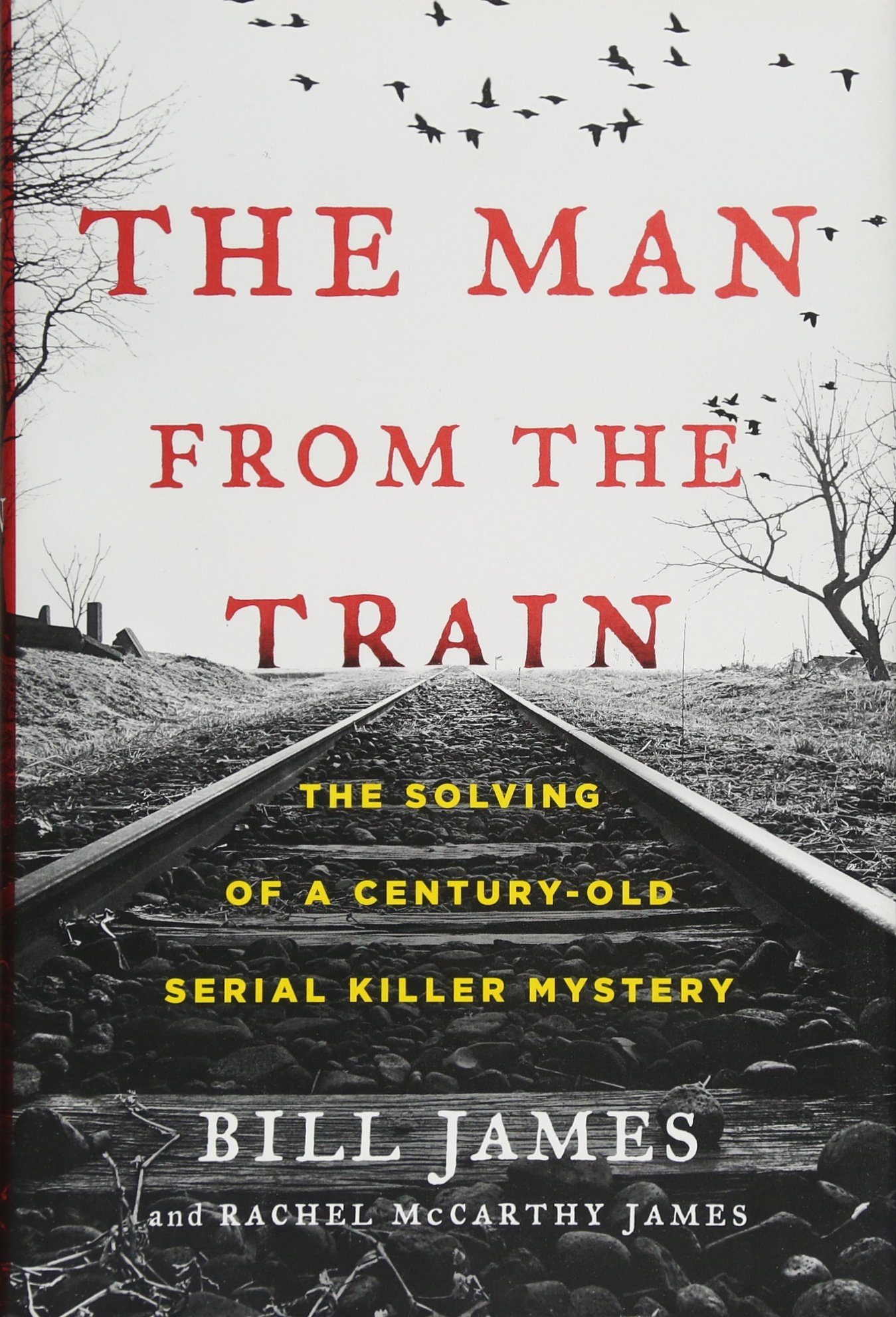 cover of The Man From the Train, featuring a scene of rural railroad tracks