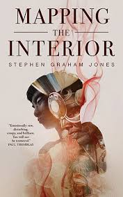 cover of Mapping the Interior, featuring a trippy image of a a young Native American kid looking intense with an image of a full-regalia Blackfeet man super-imposed, w/ some smokey accents. Good stuff.