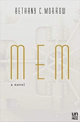 the simple, white cover of Bethany Morrow's MEM, with gold, art deco lettering