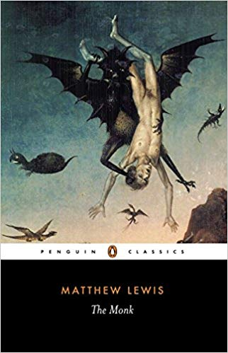 the cover of Matthew Lewis' The Monk, Penguin Classics edition - and - holy cow - this one is gnarly: it's the detail of a renaissance painting, demon's flying through the air, one in the foreground, lifting a naked dude upside down by his ankles. Eesh.