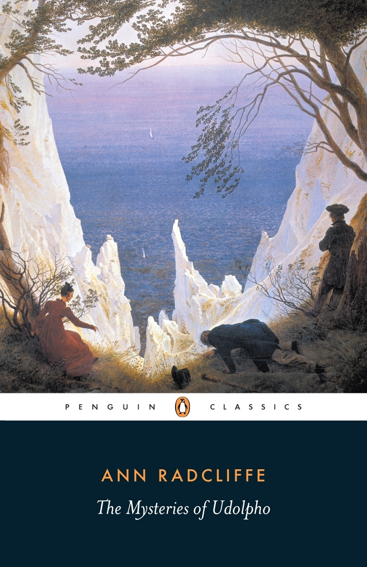 cover of Ann Radcliffe's gothic classic The Mysteries of Udolpho, featuring an old painting of a few people looking down at the ocean from a craggy, valley cliff