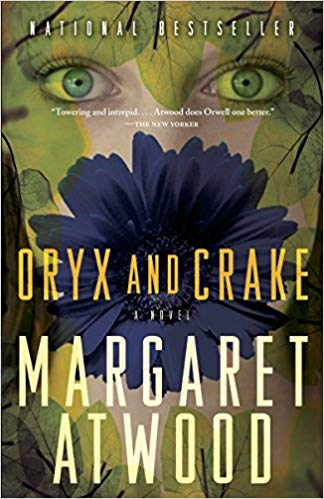 cover of Margaret Atwood's Oryx and Crake, featuring a young, female face with green eyes gazing out from a bit of flora